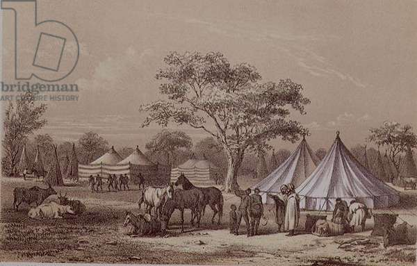 Slave encampment in the forest, from 'Travels and Discoveries in North and Central Africa' by Heinrich Barth (1821-65) 1852 (litho)
