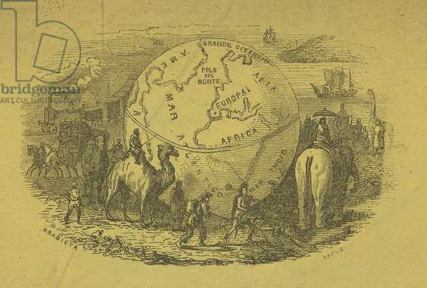 Detail of the globe, from 'Nuevo Viajero Universal', published Madrid, 1859 (engraving)