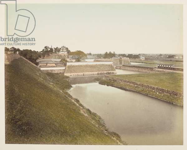 Edo Castle, Tokyo, from A Book of Coloured Photographs of views in Japan, 1895 (coloured photo)