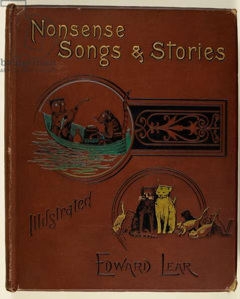 Front cover of Edward Lear's Nonsense Songs and Stories, with illustration of the Owl and the Pussycat, and a family of cats.