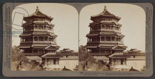 Grand Porcelain Tower, one of the splendid buildings of the Imperial Summer Palace, near Peking, China, c.1900 (stereoscopic photo)