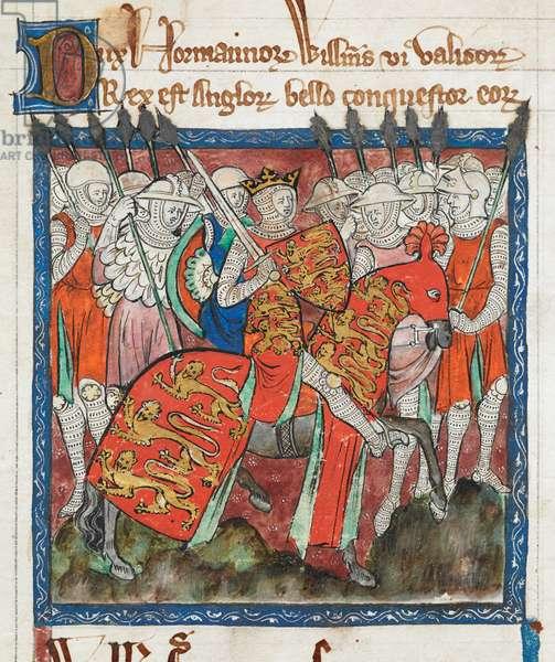 Cott Claud D II f.33 William the Conqueror riding with his soldiers, 'Liber Legum Antiquorum Regum' (vellum)