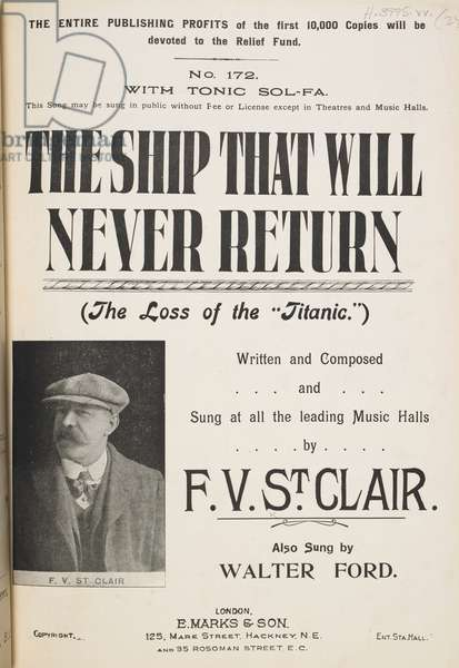 Music cover. The ship that will never return (the loss of the Titanic).