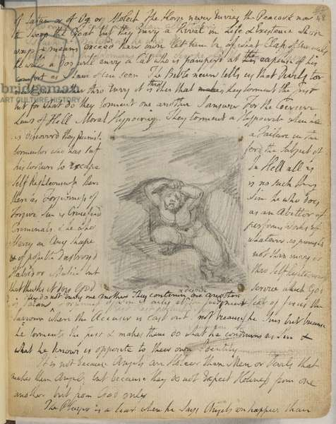 Add. 49460, f.48 Emblem 59: Struggling Figure, from 'The Notebook of William Blake' (The Rossetti Manuscipt') c.1787-1847 (pencil on paper)