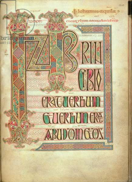 Cott Nero D IV f.211 Incipit page to the Gospel of St. John, from the Lindisfarne Gospels, 710-721 (vellum)
