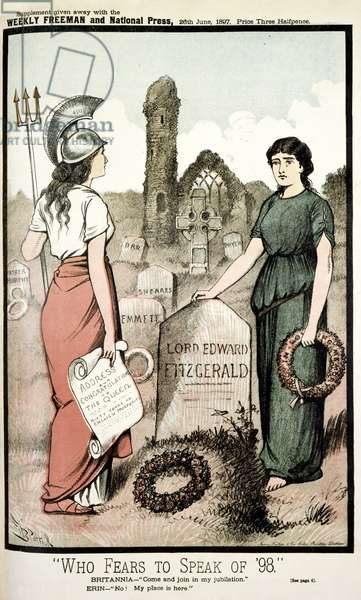 Who fears to speak of '98. Britannia - Come and join in my jubilation.Erin-No! My place is here. Graveyard with the names of Irish nationlists, such as Robert Emmet and Lord Edward Fitzgerald, on the tombstones.