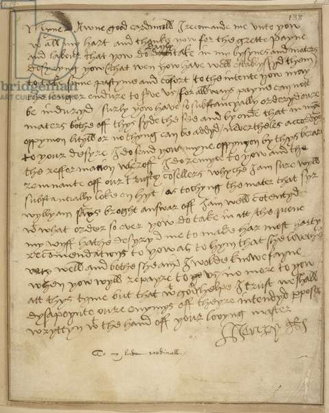 Holograph letter of thanks to Henry VIII from Wolsey.