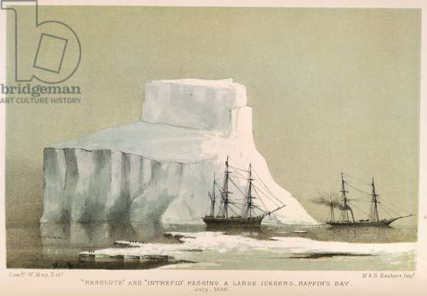 """Resolute"" and ""Intrepid"" passing a large iceberg, Baffin's Bay. July 1852."