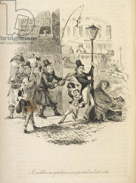 Illustration with the title 'A sudden recognition unexpected on both sides'. A street scene. A man holding on to a lamppost, while another pulls him with an umbrella.