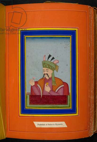 Shah Abbas I of Persia (reg. 1588-1629) head and shoulders portrait, looking left (opaque w/c on paper)