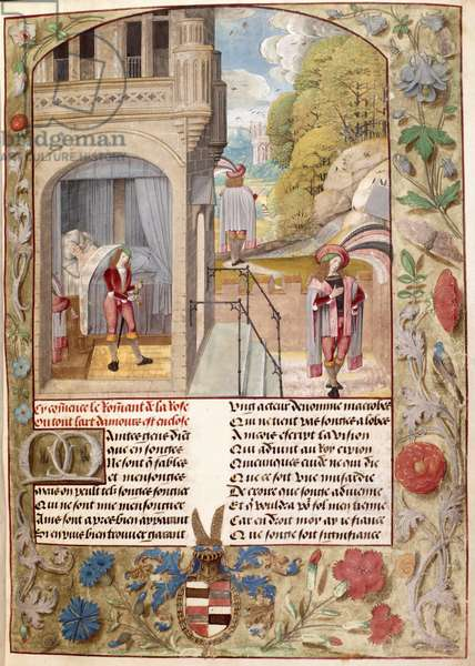 Harley 4425, fol.7 The Lover Asleep, Rising and Going to the Garden of Love, from 'Roman de la Rose' by Guillaume de Lorris and Jean de Meung, c.1490-1500 (vellum)