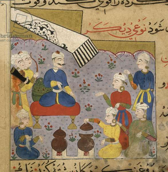 Preparation of aphrodisiac food for the Sultan Ghiyath al-Din, section on food as an aphrodisiac from The Ni'matnama-i Nasir al-Din Shah, 1495-1505 (opaque w/c on paper)