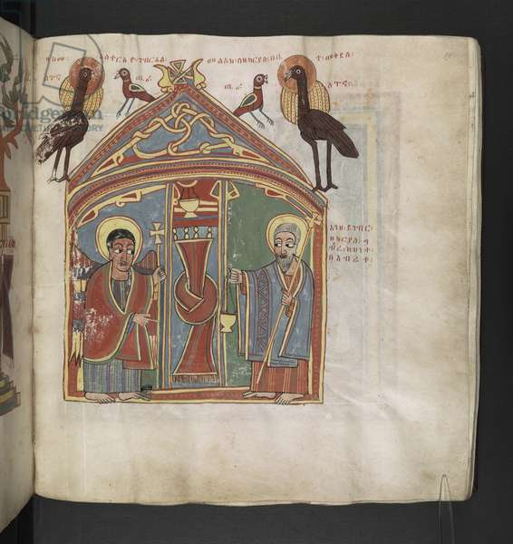 Or. 481, f.99 The Annunciation of Zacharia.Octateuch, Gospels and Ecclesiastical works.An Ethiopian manuscript.Late 17th century.