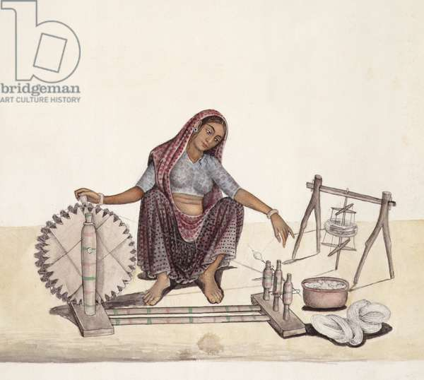 AS10 Vol.52 ff.4 4899 cat 201 i-iv Woman reeling cotton, Bombay, 1873 (w/c on paper)
