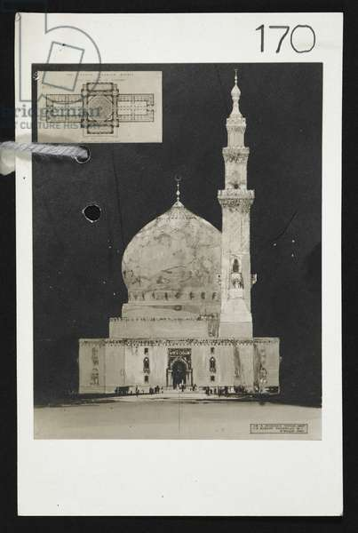 Design for the Central London Mosque, by Alfred Brumwell Thomas, c.1920 (litho)