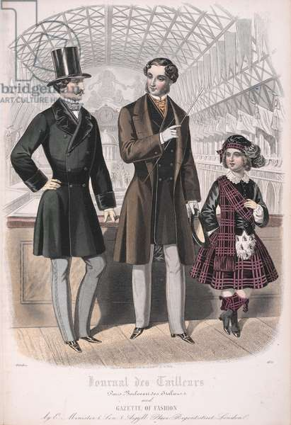 Two men and a child. The men wear frock coats. The child wears a highland costume.
