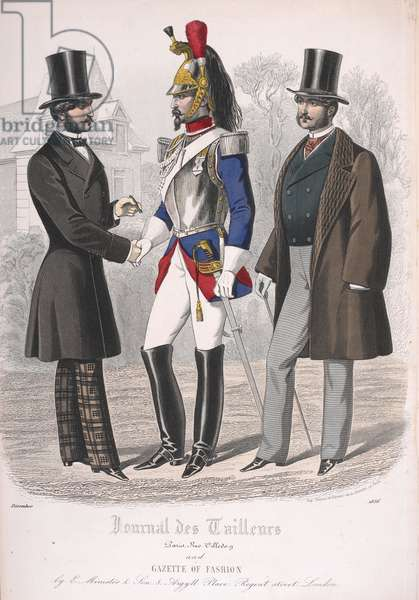 Two men wearing coats. A Cuirassier or dragoon standing with them.