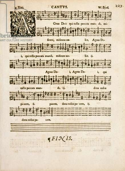 Cantus p.223, Latin mass with illuminated letter A