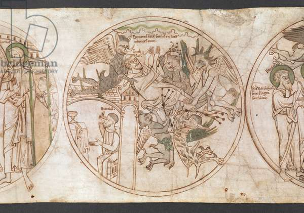 Harley Roll Y 6,  Roundel 7,  Roundel of St Guthlac being carried aloft and whipped by demons, while Beccelm prays below before an altar, with the inscription 'Demones fer[un]t Guthl[acum] in aere[m], cedentes eum' and inscriptions 'Guthlac[us]' and 'Beccelm[us]' labelling the figures. from the 'Life of Guthlac' (the 'Guthlac Roll', or Vita Sancti Guthlaci) 1175-1215