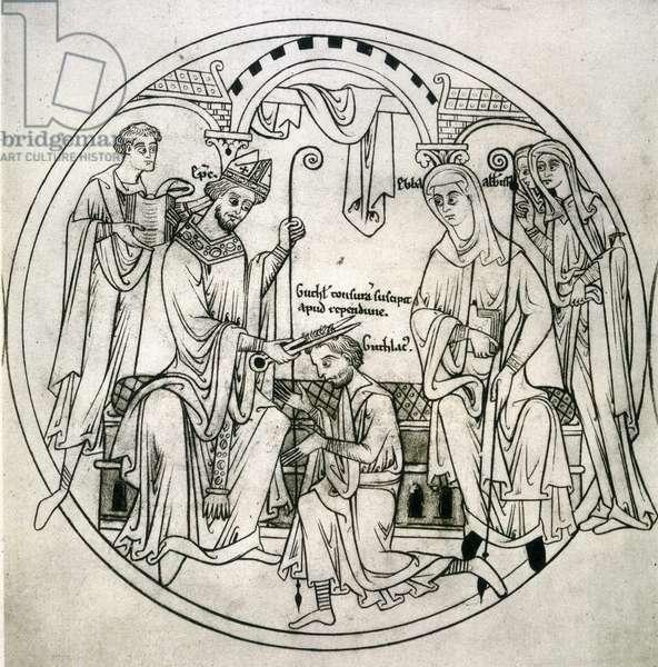 Representation de saint Guthlac (674-714) recevant la tonsure a l'abbaye de Repton. Manuscrit de Guthlac, 1210 environ. The British Library Institution Reference: Shelfmark ID: Harl.Roll.Y.6. Folio No: 3. Facs.283 Guthlac receives the tonsure at Repton Abbey. Guthlac Roll. c.1210 ©The British Library Board/Leemage