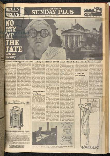 'No Joy at the Tate', page from 'The Observer', 4th March 1979 (newsprint)