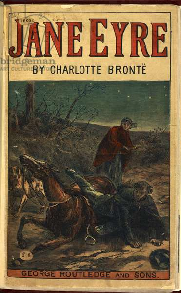 Colour illustration. Edward Rochester with his fallen horse, in front of Jane Eyre. The first encounter of the two main characters of the novel.