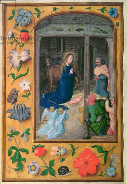 Add 35314 f.25v Nativity, from a Book of Hours, Bruges, c.1510-20 (vellum)