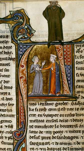 Sloane 2435, f.28v Initial 'P' depicting 'A noble woman choosing a wet-nurse, from 'Li Livres dou Santé', by Aldobrandino of Siena (ink, colour & gold on vellum)