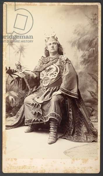 Rutland Barrington as King Paramount, The First Performance of Gilbert and Sullivan's Comic Opera 'Utopia, Limited', 1893 (b/w photo)
