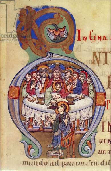Egerton 809, fol.17, The Last Supper, from 'Gospel Lectionary', c.1100 (vellum)