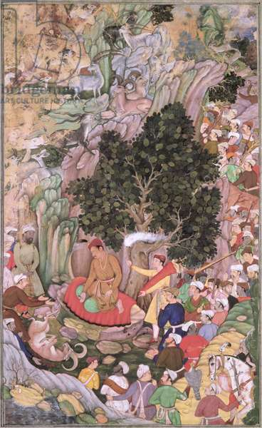 J8-4 Akbar (1556-1605) ordering the slaughter to cease, from the Akbarnama, compiled by Abul Fazi, Mughal, c.1590, (illustrated text), (gouache with gold)