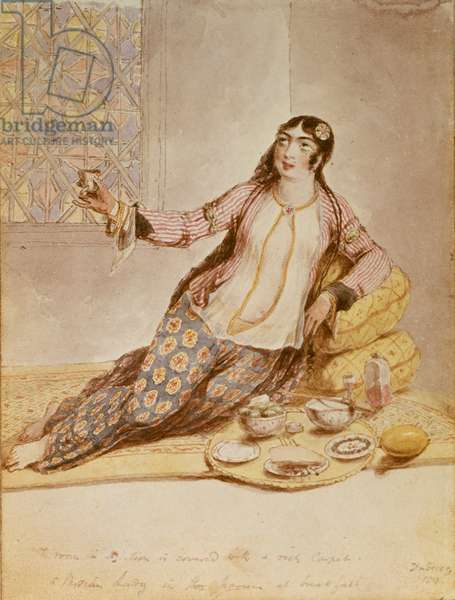 A Persian Lady, from Sir Robert Ker Porter's 'Travels in Georgia, Persia, Armenia and Ancient Babylonia, 1817-20, 1818 (colour litho)