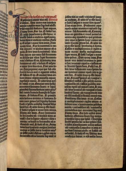 C.9.d.4  f.5r Genesis, 'The Gutenberg Bible', 1455 (vellum)
