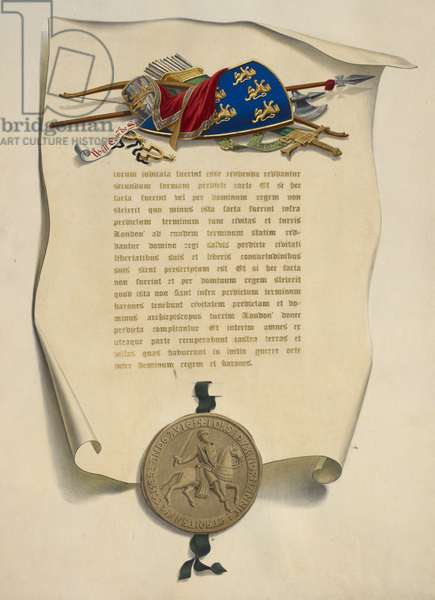 A shield, other items and seal.