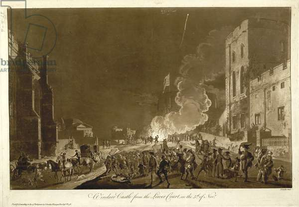 View of the festivities in the lower court of Windsor Castle during Guy Fawkes Night, showing the gathering near the bonfire and fireworks in the sky.