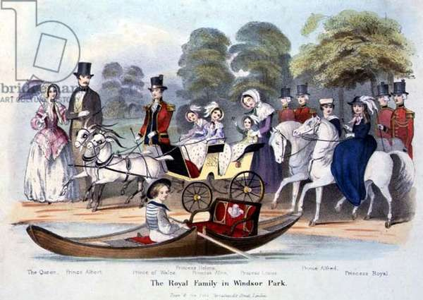 The Royal Family in Windsor Park, litho