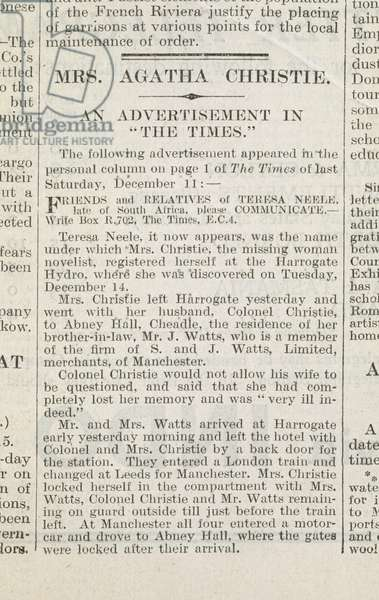 Agatha Christie, Novelist's Disappearance, 'The Daily Mirror', 1926 (newsprint)