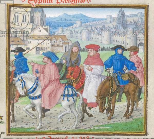 Roy 18 D II f.148 Lydgate and the Canterbury Pilgrims Leaving Canterbury from the 'Troy Book and the Siege of Thebes' by John Lydgate (c.1370-c.1451) 1412-22 (vellum) (detail of 8063)