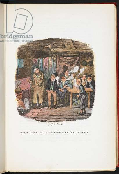 Oliver introduced to the Respectable Old Gentleman, from The Adventures of Oliver Twist ... With twenty-four illustrations by Cruikshank, 1911 (colour litho)