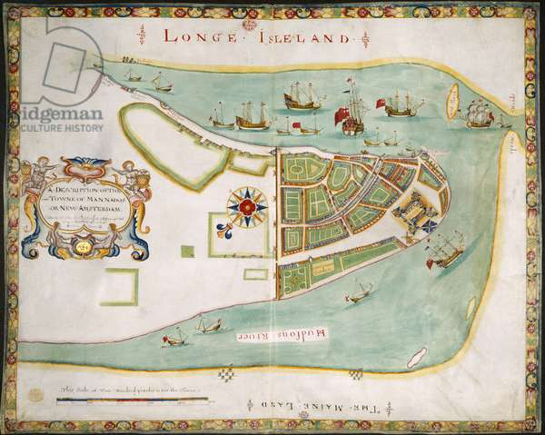 The Duke's Plan of New York, 1664 (ink, colour & gold on vellum)