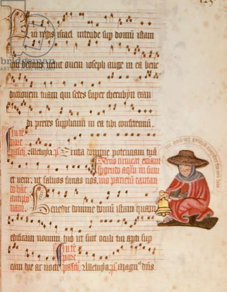 F.127 Music Sheet with a Drawing of a Leper, c.1400 (vellum)