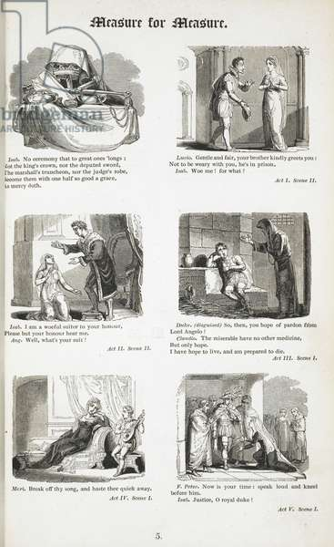 Illustrations for the play by Shakespeare, 'Measure for measure'.