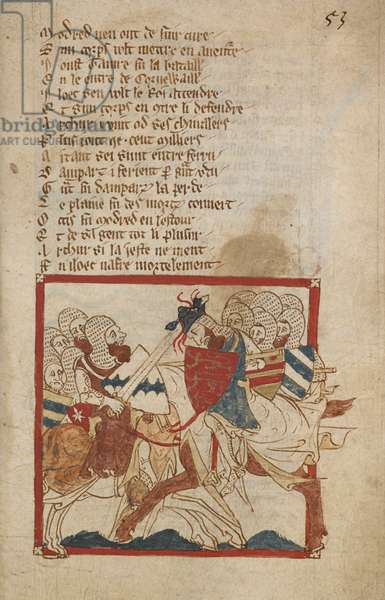 Arthur Mortally Wounded, illustration from 'Romances in French Verse...', by Canon of Wace (Wace of Bayeux)