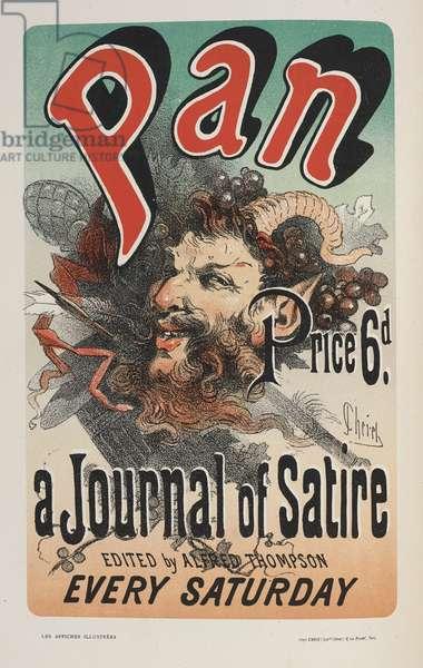 Pan, A Jornal of Satire, from 'Les affiches illustrées. Ouvrage orné de...', by Ernest Maindron, 1886 (colour litho)