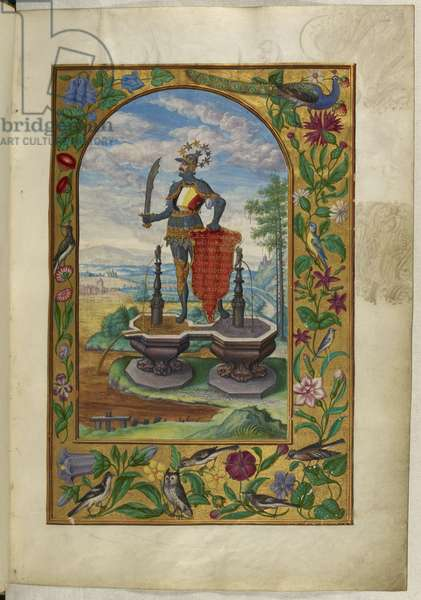 Ms Harley 3469, f.7 Knight standing on fountains, the Second Treatise, from 'Splendor Solis' by Salomon Trismosin, 1582 (vellum)