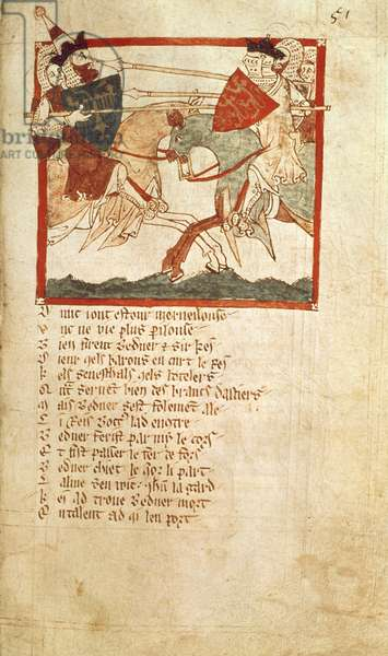 Eg 3028 f.51 Arthur fights the Emperor Lucius, from the Verse Chronicle of 'Roman de Brut' (vellum)