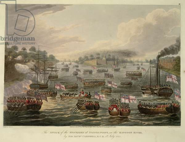The Attack of the Stockades at Pagoda Point on the Rangoon River by Sir Archibald Campbell, 8th July 1824, engraved by Reeve Jr., 1825 (coloured aquatint)