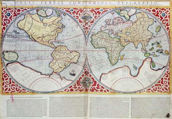 """Atlas de 1587 representant dans une emisphere le continent americain et dans l'autre les continant africain, europeen et asiatique. In """"""""Orbis Terrae Compendiosa Descriptio"""""""" de Rumold Mercator (1546/48-1599), troisieme fils de Gerhard Kremer, dit Gerardus Mercator. The British Library Institution Reference: Shelfmark:Maps.C.3.c.4 ©The British Library Board/Leemage"""