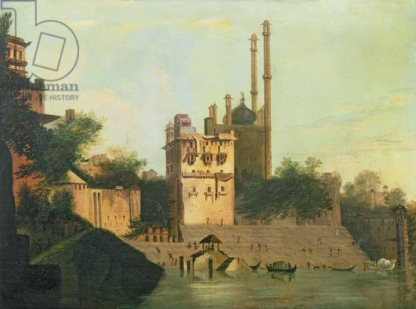 Foster 94 (88) Aurangzeb's Mosque on the River Ganges, Palace of Raja Abal, Benares, 1781