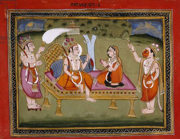 Or. 13805 f.373 King Rama on a throne, illustration from 'The Bhagavatapurana (Purana of the Blessed Lord)' by Kalurama, 1806 (ink, colour & gold on paper)